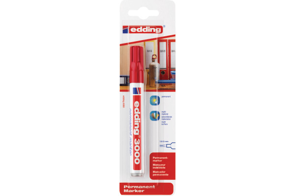 EDDING Permanent Marker 3000 1.5-3mm 3000BLI-2 rot Blister