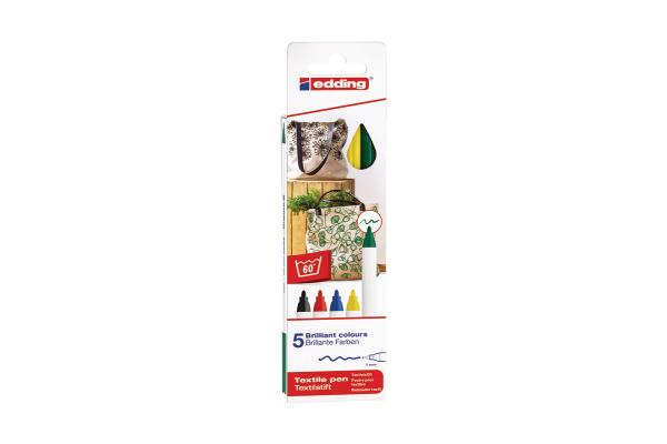 EDDING Textilstift 4600 3945 Basic Color 5 Stück