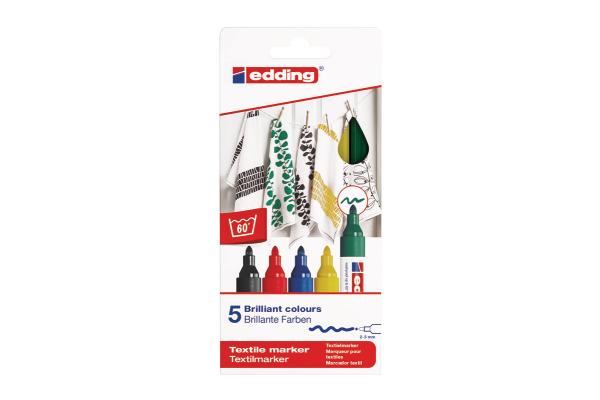 EDDING Textilmarker 4500 3948 Basic Color 5 Stück