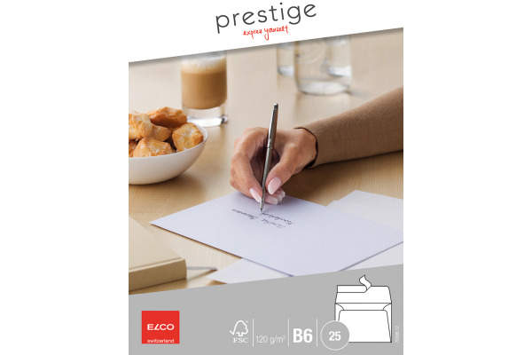 ELCO Briefumschlag Prestige B6 70396.12 120g,weiss,o.Fenster 25 Stk.