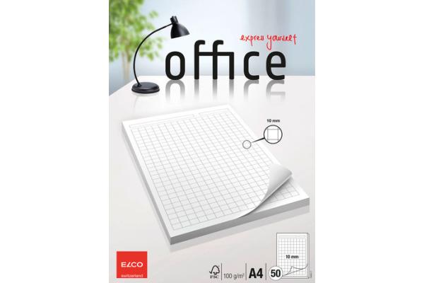 ELCO Block Office kariert 10mm A4 74404.17 hochweiss,...
