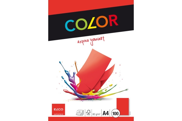 ELCO Office Color Papier A4 74616.92 80g, rot 100 Blatt