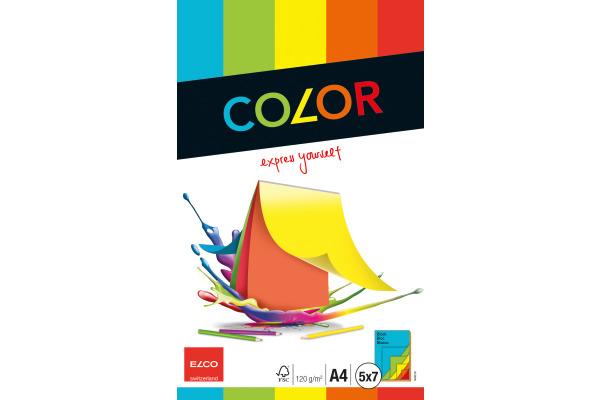 ELCO Zeichenpapier A4 74640 120g, farbig 35 Blatt
