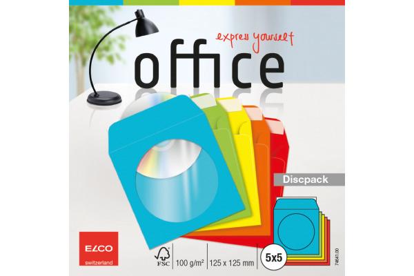 ELCO CD Discpack FSC 125x125mm 74641 5 Farben, 90g, Kleber 25 Stück