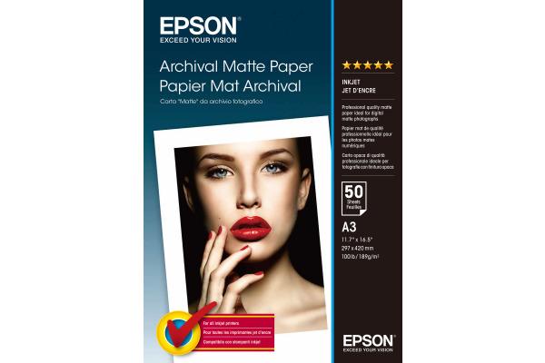 EPSON Archival Matt Paper A3 S041344 InkJet 192g 50 Blatt