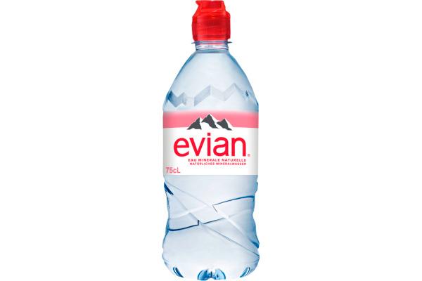 EVIAN Mineralwasser 75cl PET 8831 6 Stück, Sportcap