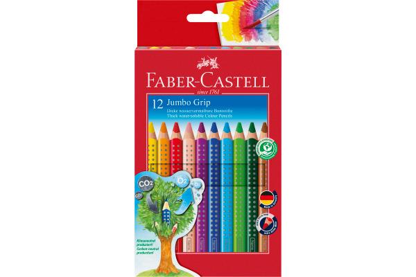 FABER-CASTELL Farbstifte Jumbo GRIP 110912 12 Farben,...