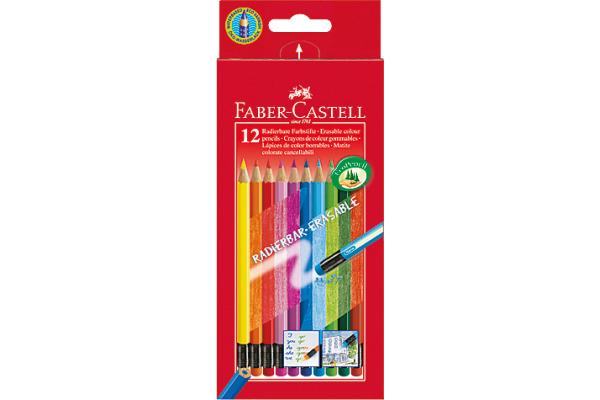 FABER-CASTELL Radierbare Farbstifte 116612 sechskant, 12...