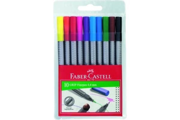 FABER-CASTELL Grip Finepen 0,4mm 151610 10 Farben, Etui
