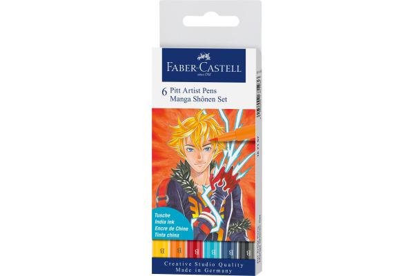 FABER-CASTELL Pitt Artist Pen Manga Shônen 167157 diverse Farben 6 Stück
