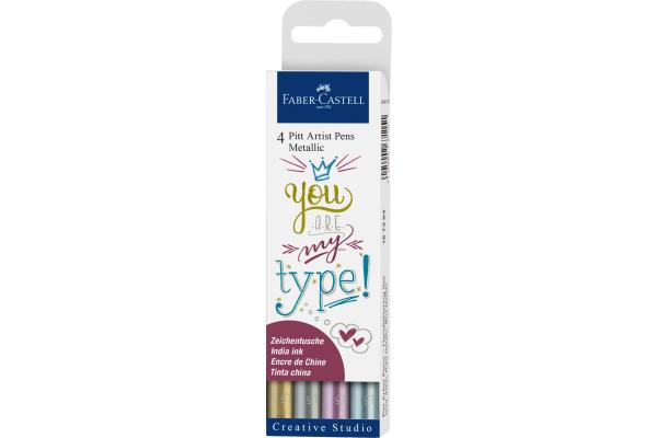 FABER-CASTELL PITT Art Pen 1,5mm 167304 Metallic 4...