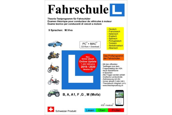 FAHRSCHUL 2019/20 9 Sprachen Vers. 23  Kat. A, A1, B,F,G,M (CD-Rom)