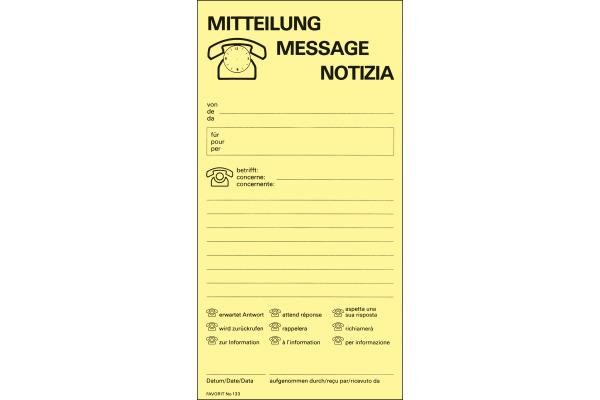 FAVORIT Gesprächstnotiz D/F/I 133 GELB gelb 10,5x20,2cm 60 Blatt