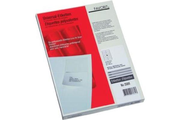 FAVORIT Etiketten, weiss 70x32mm 2624 gerade Ecken 100x27 Stück