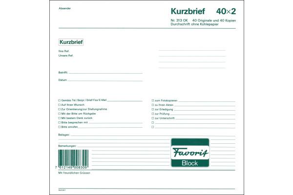 FAVORIT Kurzbrief D 21x21cm 313OK weiss 40 Blatt