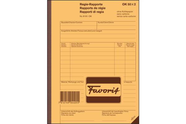 FAVORIT Regierapport D F I A5 8181 OK weiss 50x2 Blatt