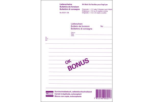 FAVORIT Lieferscheine D/FI A5 8331OK weiss 84 Blatt