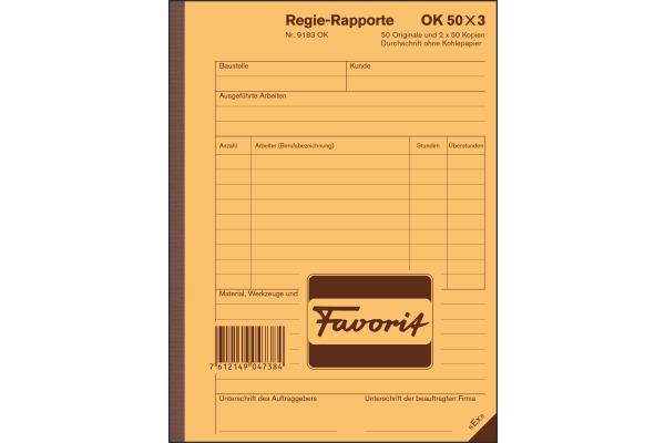 FAVORIT Regierapport D/F/I A5 9183 OK weiss 50x3 Blatt
