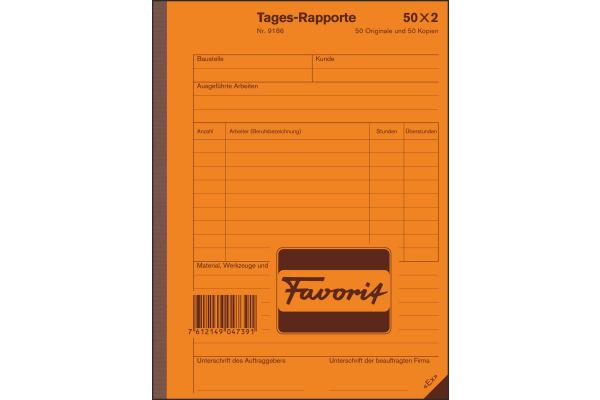 FAVORIT Tages-Rapport D A5 9186 weiss/weiss 50x2 Blatt