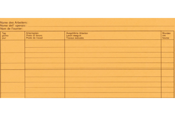 FAVORIT Wochen-Rapporte D/F/I A4 9301 OK Durchschreibepapier 50x2 Blatt