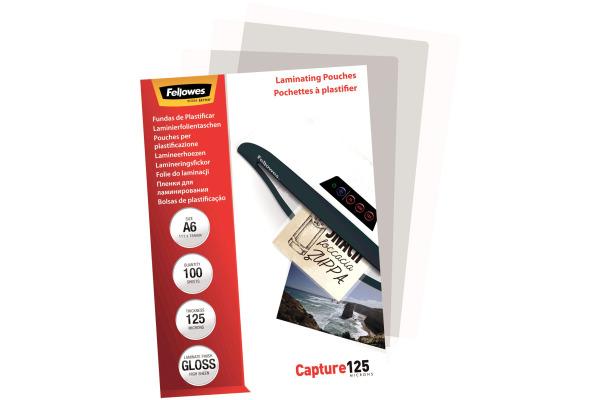 FELLOWES Folientasche 125mic A6 5307201 glossy 100 Stück