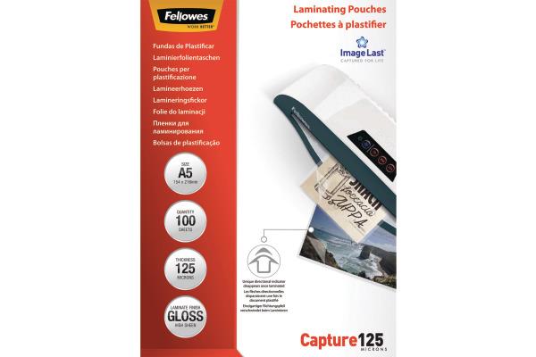FELLOWES Laminiertasche A5 5307302 glanz, 125my 100 Stk