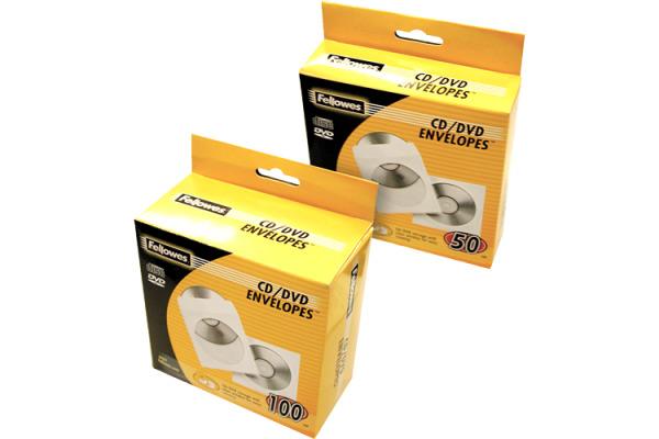 FELLOWES CD/DVD Papierhüllen 90691 100 Stück