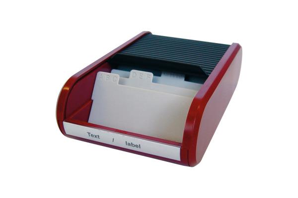 HELIT Visitenkartenbox H6218092 schwarz/rot 67x136x240mm