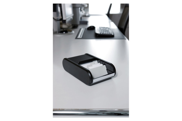 Helit Visitenkarten Box H6218095 Schwarz 136x240x67mm