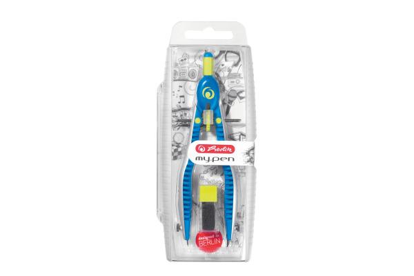 HERLITZ Schnellverstellzirkel my.pen 11122330 Blau/Lemon, Blister