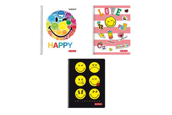 HERLITZ Spiralblock A4 SmileyWorld 50001774 80 Blatt liniert 3 Motive