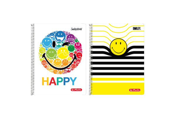 HERLITZ Spiralblock A4 SmileyWorld 50001781 80 Blatt liniert 3 Motive
