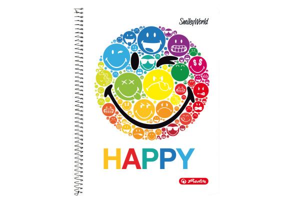 HERLITZ Spiralblock A4 SmileyWorld 50002771 80 Blatt kariert Rainbow