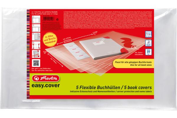 HERLITZ Buchhülle easy cover 50014750 5 Stück in Polybeutel Flexibel