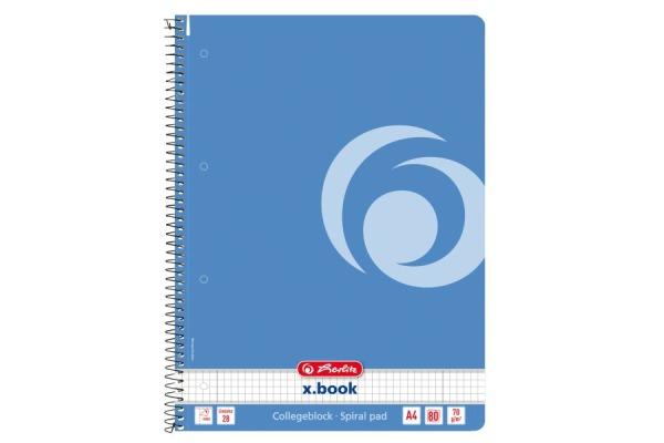 HERLITZ Spiralblock A4 50015689 Baltic Blue 80 Bl.kariert