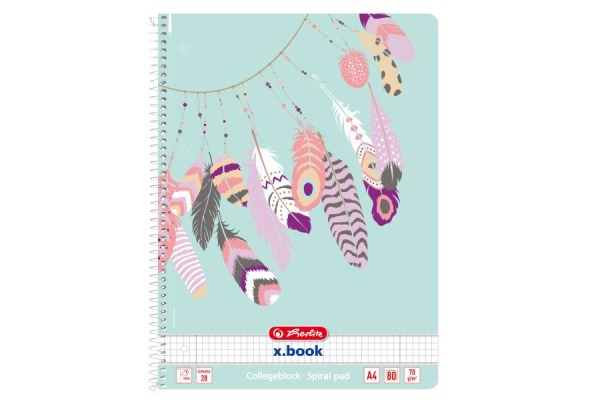 HERLITZ Spiralblock A4 50016488 Feather 80 Blatt kariert