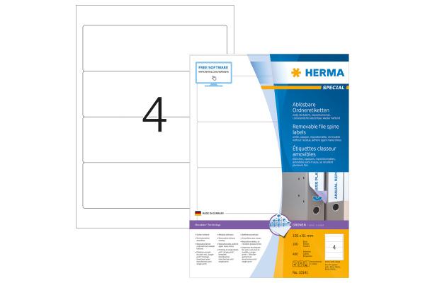 HERMA Ordner Etiketten 192X61mm 10141 weiss, non-perm. 400 Stück