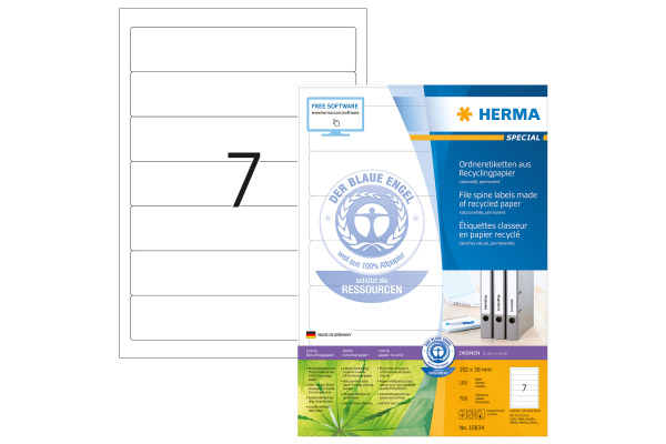 HERMA Etiketten 192x38mm 10834 recycling, Ordnen 700 Stück