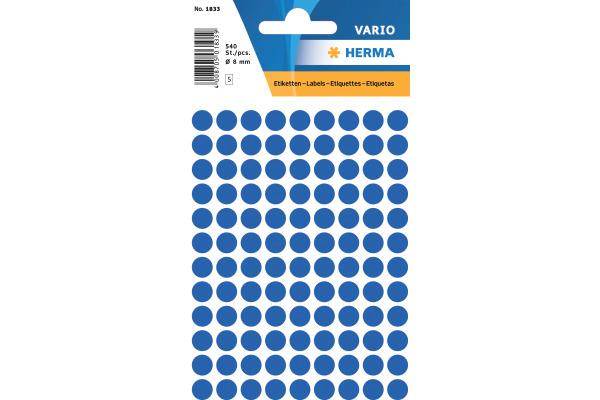 HERMA Etiketten rund 8mm 1833 dunkelblau 540 Stück