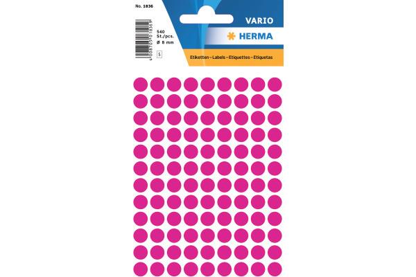 HERMA Etiketten rund 8mm 1836 pink 540 Stück