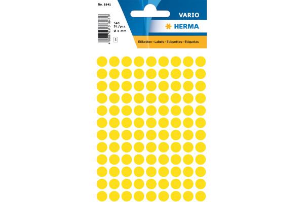 HERMA Markierungspunkte 8mm 1841 gelb 540 Stück