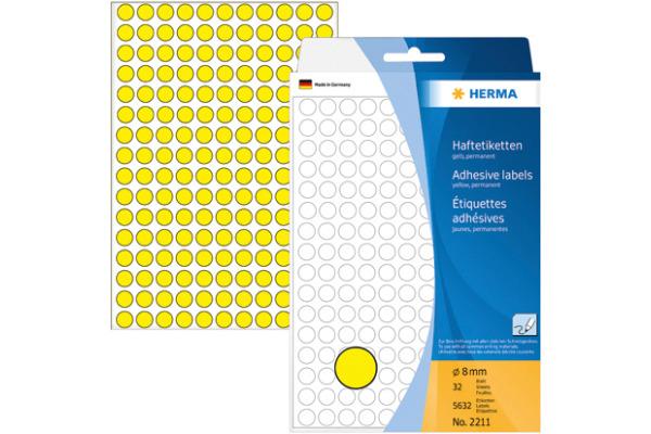 HERMA Etiketten rund 8mm 2211 gelb 5632 Stück