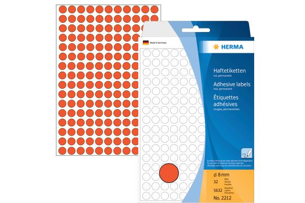 HERMA Etiketten rund 8mm 2212 rot 5632 Stück