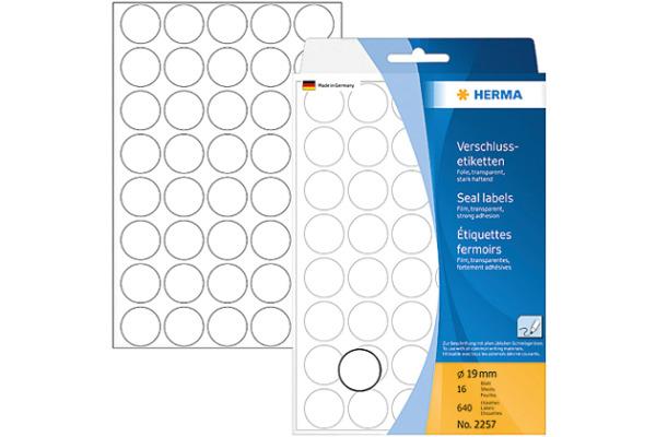 HERMA Verschlussetiketten 19mm 2257 transparent 640...