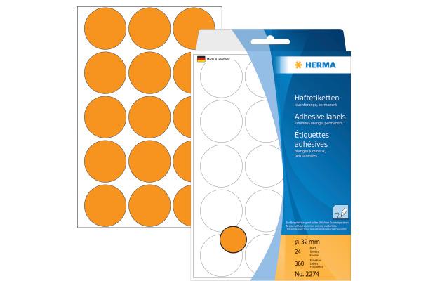 HERMA Etiketten rund 32mm 2274 orange 360 Stück