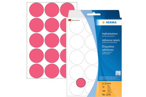 HERMA Etiketten rund 32mm 2276 leuchtrot 360 Stück