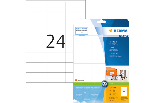 HERMA Universal-Etikett. 70,0x36,0mm 4360 weiss 600...