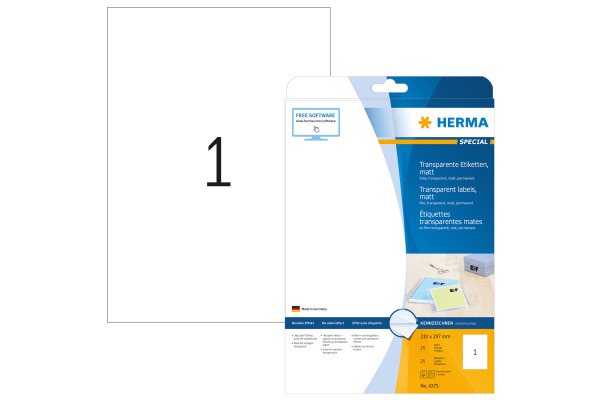 HERMA Folienetiketten 210x297mm 4375 transparent 25...