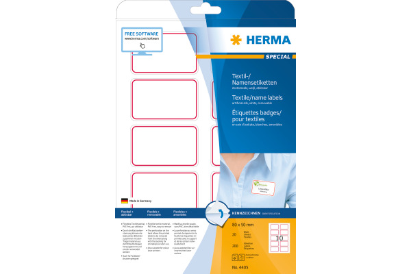 HERMA Namensetiketten 80x50mm 4405 weiss 200 Stk./20 Bl.