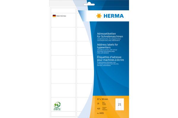 HERMA Adressetiketten 67×38mm 4431 weiss 420...